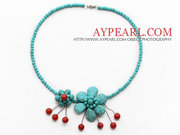 Elegant Style Turquoise and Coral Flower Necklace Is Sold At $5.16