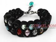 Multi Color Crystal and Black Velvet Ribbon Woven Bold Bracelet