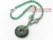 Round Aventurine Necklace with Serpentine Jade Donut Pendant