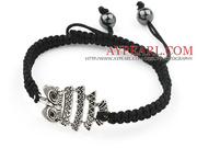 Owl Shape and Hematite Beads Adjustable Drawstring Bracelet