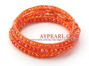 Fashion Dark Orange Color Jade Crystal Wrap Bangle Bracelet